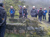 Group B - observe what could be the base of an old quarry winch. David, Lonica, Mike, Les, John, Susanne and Jenny.