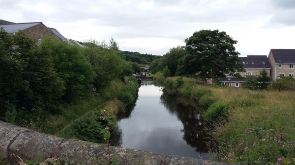 Looking down the Huddersfield canal towards Mossley