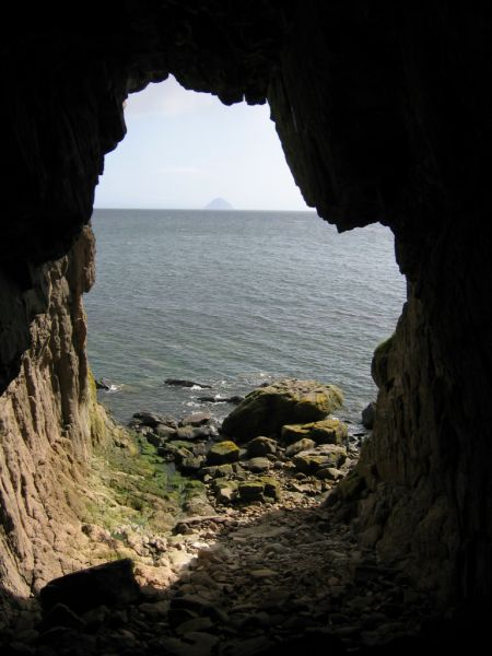 Black Cave (South coast of Arran) looking towards Ailsa Craig