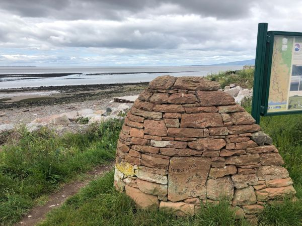 Marker cairn at start/end of the walk, at Newbiebarns