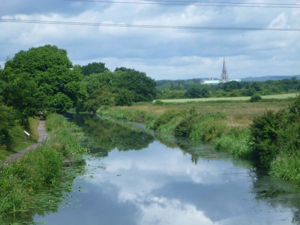 Chichester Ship Canal with Chichester Cathedral in the backgrounde Sea