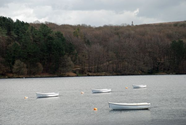 The Roddlesworth Reservoirs with Darwen Tower in the distance