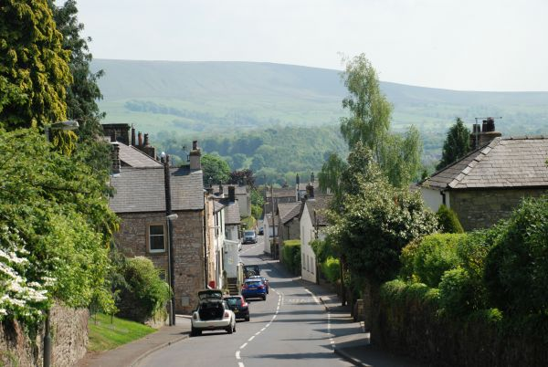 The village of Grindleton with Pendle Hill in the distance