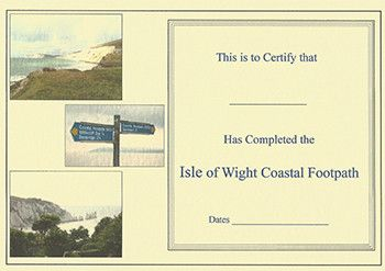 Certificate for Isle of Wight Coastal Path