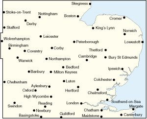 Road Map 5  East Midlands and East Anglia including London