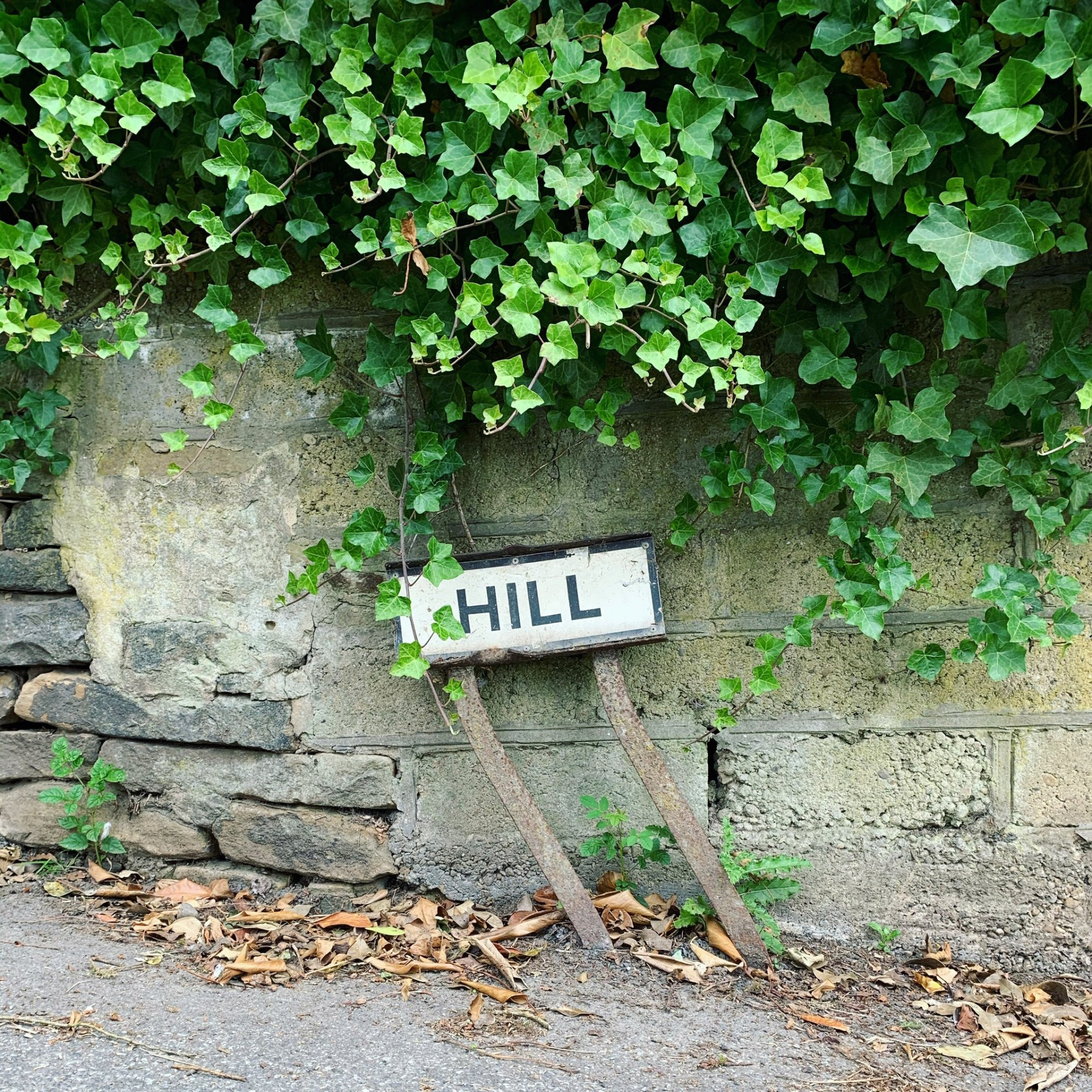 wonky road sign just hill