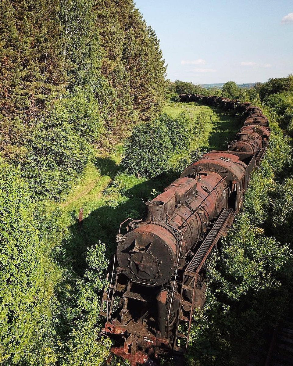 abandoned train in Ural