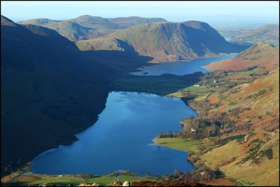 28. BUTTERMERE & CRUMMOCK WATER - from Fleetwith Pike with the Wainwright, Marilyn and Dewey, Mellbreak in the background!