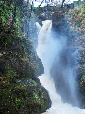 21. AIRA FORCE, ULLSWATER - in spate during November  floods
