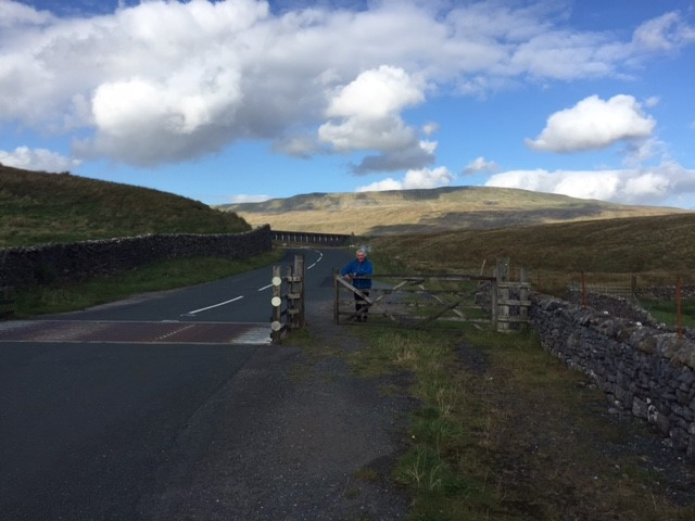 Norman waiting for us near Ribblehead Viaduct with plenty of food and water for us.