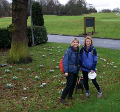 Vi, Hilary and Maude with snowdrops