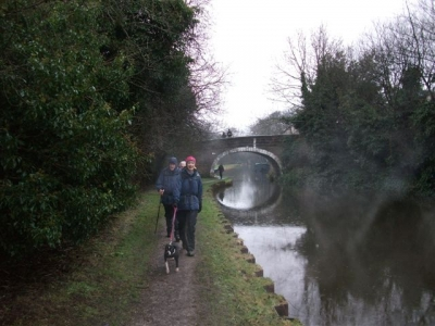 Hilary and Maude on the canal towpath