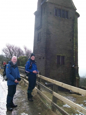 Ken and David by the pigeon tower