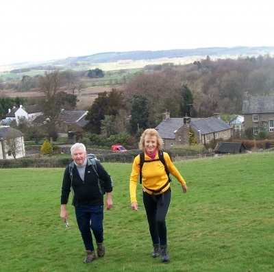 Norman and Vi come up the hill