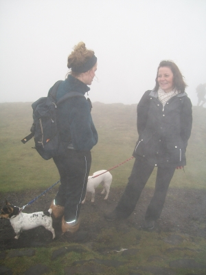 Liz with daughter in the mist