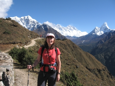 First view of Everest (centre) with Ama Dablam to the right
