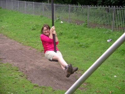 Jeanette enjoys the Zip Wire at Annan