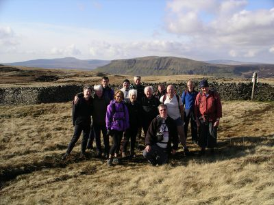 Our group on Fountains Fell, on a winter walk from Malham